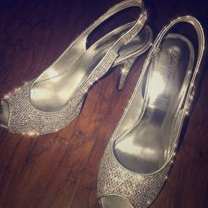Silver Sparkle Glitter Heels ✨